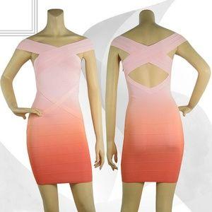 Herve Leger Pink Orange Omber Bodycon Bandage Dres